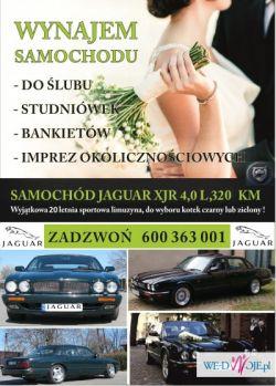 Auto do ślubu Jaguar XJR luksusowa sportowa limuzyna wynajem aut
