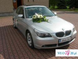 AUTO DO ŚLUBU SREBRNE  LUXUSOWE BMW 5 E-60