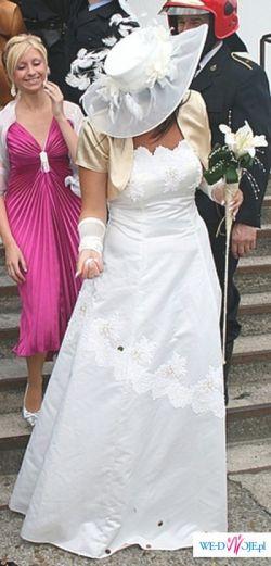 Bajeczna suknia slubna ZE ZŁOTYMI ZDOBIENIAMI 38/40+ GRATISY