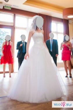 bajkowa suknia ślubna z dodatkami  w bardzo atrakcyjnej cenie