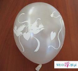 Balony w kolorze perłowym z nadrukiem