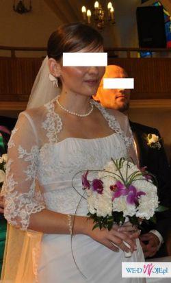 Bardzo kobieca i skromna suknia ślubna rozm.38-40