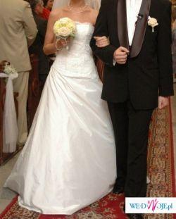 Biała elegancka suknia, WELON GRATIS