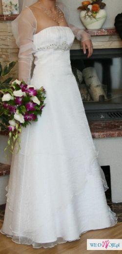 Biała jednoczęściowa suknia ślubna roz. 36