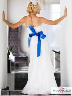 Biała koronkowa suknia Mercator A-308 36/38 + halka + fascynator