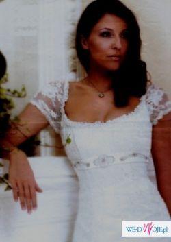 biała koronkowa suknia ślubna Karmina 34 + dodatki, W-wa, 1200