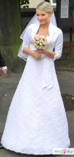 Biała koronkowa suknia ślubna z trenem, bolerko gratis 36 rozmiar