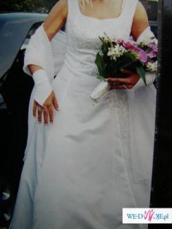 biała princessa (wyszczupla) z szalem i rękawiczkami za 500zł w stanie idealnym
