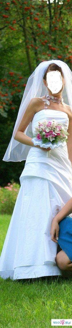 Biała, śliczna, jednoczęściowa sukienka 34/36 + bolerko, welon, halka