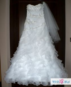 Biała suknia Carrera Annais Bridal z falbanami i halką, r. 36-38 + buty r. 38