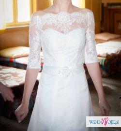 biała suknia empire 36 plus welon i bolerko