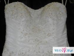 Biała Suknia ślubna 36 Rybka Koronka Tiul Amy Love Model Cyntia