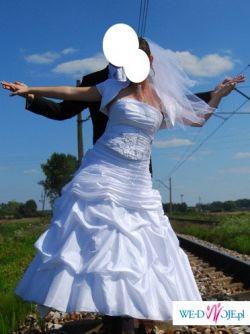 Biała suknia ślubna 40 42 wyszczuplający fason!