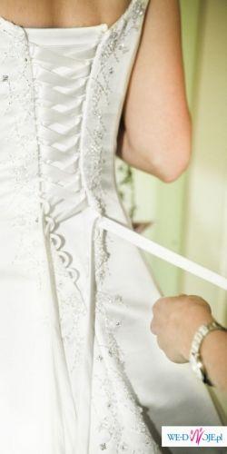 Biała suknia ślubna firmy COSMOBELLA rozm 38/40 GRATIS męskie dodatki