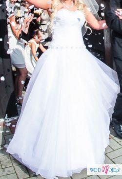 Biała Suknia Ślubna roz 38 PRINCESSA tiulowa