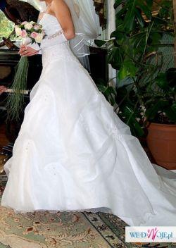 Biała suknia ślubna roz. 38 z trenem