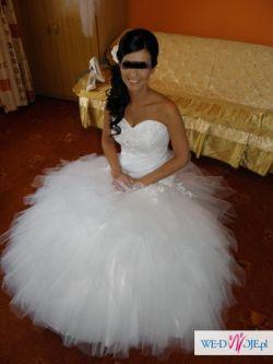 Biała suknia ślubna - szarpany tiul obniżony stan księżniczka