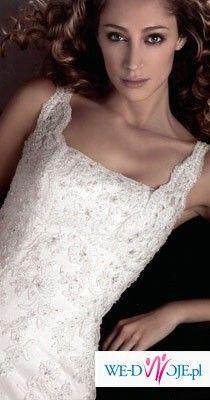 Biała suknia ślubna z hiszpańskiej koronki