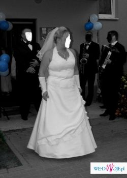 Biała suknia ślubna z szelką na szyję rozmiar 46 - 50