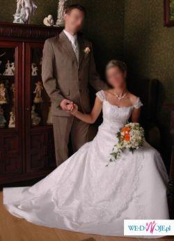 Biała suknia z koronką i podwiązywanym trenem, r. S/M na 164 cm + ok. 5 cm obcas