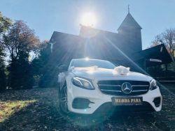 Białe luksusowe auto samochód do ślubu wesela - Biała limuzyna Mercedes AMG 2018r