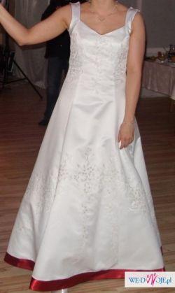 biało bordowa satynowa suknia ślubna-wyjątkowa!!!