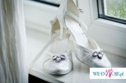biało-srebrne buty do  śluby