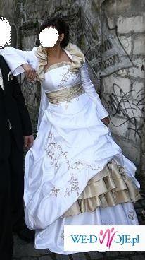 Bialo zlota suknia slubna