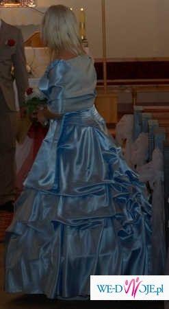 171cf40b99 Błekitna suknia balowa ślubna ubrana tylko raz!!! jak dla księżniczki