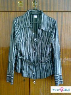 bluzka damska - czarna ze srebrnymi paskami