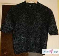 bluzka sweterek czarny ze srebrną nitką