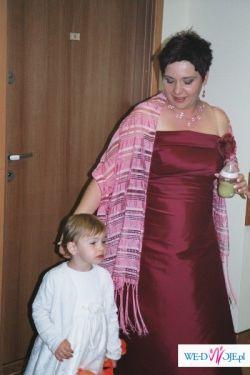 Bordowa suknia ślubna z miejscem na brzuszek:)