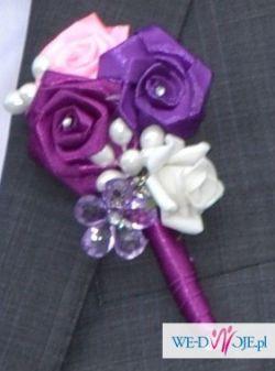 Bukiet ślubny + butonierka,biżuteryjny śliczny