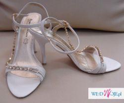 Buty białe z cyrkoniami w złocie rozm.37 obcas 10cm