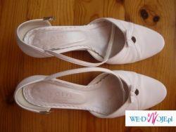 Buty ślubne, białe, skóra, rozmiar 40
