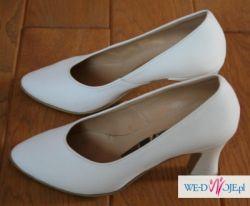buty wizytowe białe satynowe