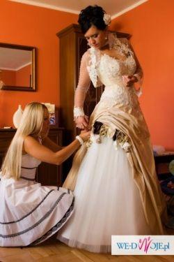 cappucino piękana suknia ślubna