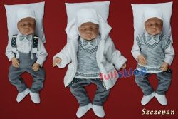 Ciepłe jesienno zimowe w szarym kolorze ubranko do chrztu dla chłopca