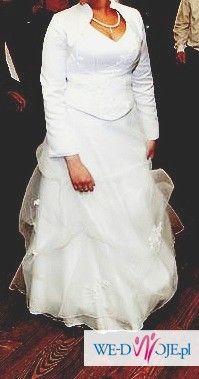 cudna suknia ślubna z bolerkiem +welon+buty