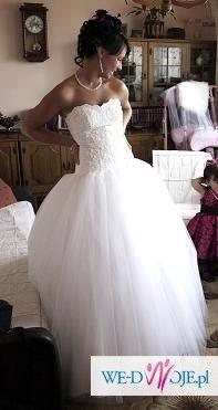cudna tiulowa suknia ślubna