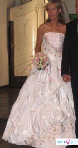 Cudowna, biało-różowa  suknia ślubna