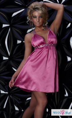 Cudowna różowa satynowa sukienka cyrkonie rozmiar M