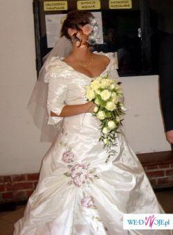 Cudowna suknia ślubna AGORA z kryształkami i kwiatami. Rozmiar 38 - OKAZJA !!!