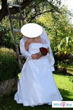 Cudowna suknia ślubna + dodatki (na kobiece kształty)