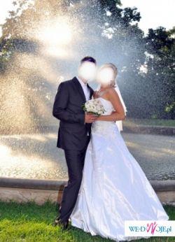 Cudowna suknia ślubna - tafta - koronka - perełki - w bieli