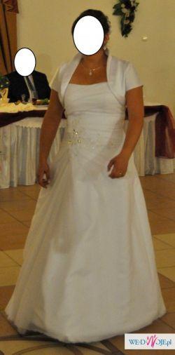 Cyrkonie- biała suknia ślubna rozm. 42-44
