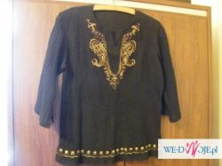 Czarna tuniczka z haftem.Roz L.Bawełna