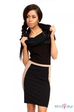 Czarno-beżowa panelowa spódniczka S-L