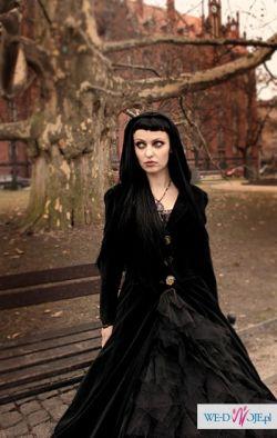 """Czarny płaszcz aksamitny """"dark elf"""""""