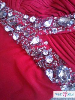 Czerwona sukienka na świąteczno – karnawałowe uroczystości. Rozmiar 40
